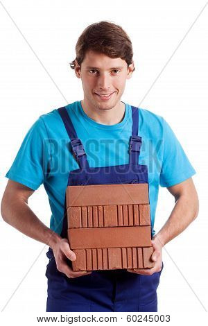 Man Holding The  Bricks
