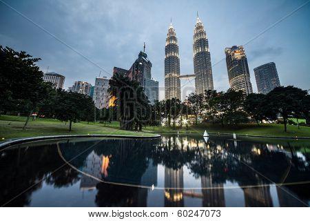 KUALA LUMPUR, MALAYSIA - JANUARY 22: Petronas Twin Towers - tallest twin buildings in the world at the night January 22, 2011. Kuala Lumpur, Malaysia