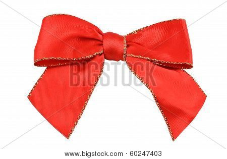 Red silk band for decorations close up, isolated with clipping path poster