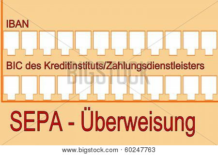sepa- single euro payments area formular on white background poster