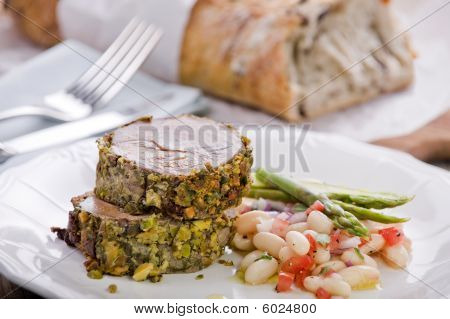 Pistachio Crusted Lamb With Cannellini Bean Salad