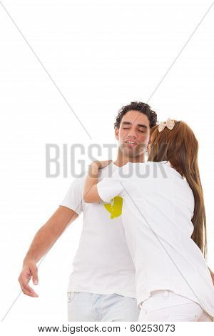 Nurse Holding Fainting Man