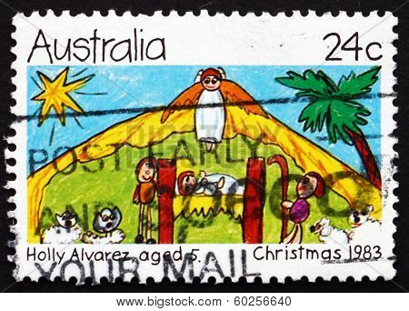AUSTRALIA - CIRCA 1983: a stamp printed in the Australia shows Nativity Scene, by Holly Alvarez, aged 5, Children's Design, Christmas, circa 1983
