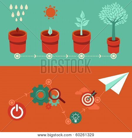 Vector Growth And Start Up Concepts In Flat Style