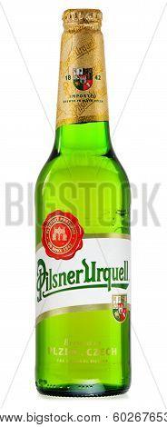 Bottle Of Pilsner Urquell Beer Isolated On White