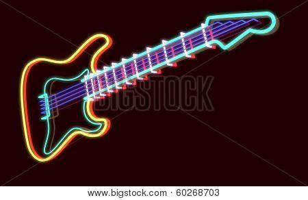 3D Rendered Guitar As Neon Lamp