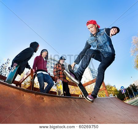 Skateboarder In Skatepark