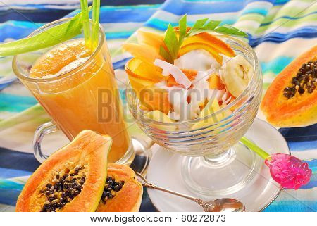 Fresh Fruits Smoothie And Salad With Papaya,banana,orange,pineapple And Coconut