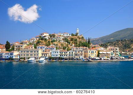 Greek island Poros at sunny day