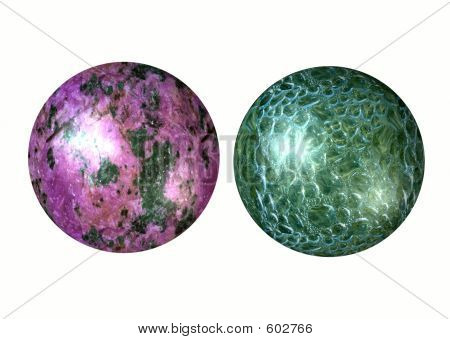 Two 3D spheres. Isolated on white background poster