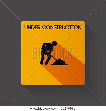 Under construction long shadow vector illustration