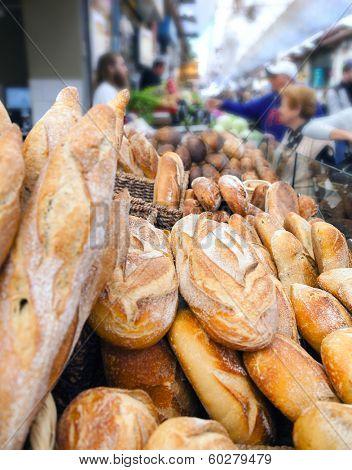 Bread counter at Mahane Yehuda, famous market in Jerusalem