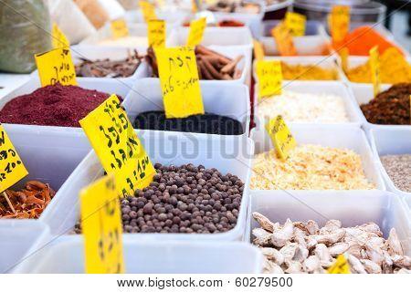 Spices at Mahane Yehuda, famous market in Jerusalem