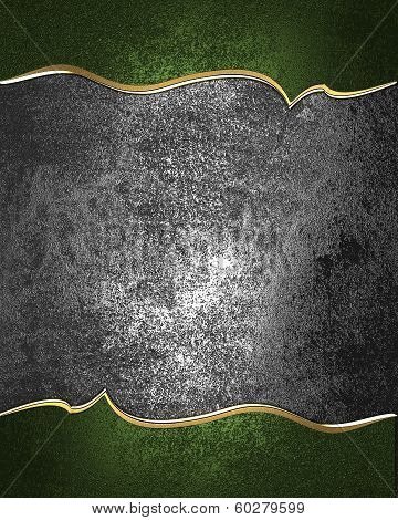 Design template - Old iron rich texture with green edges and gold trim poster