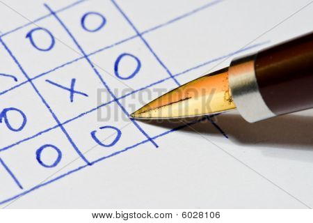 Pen written Naughts and crosses game( tic tac toe)