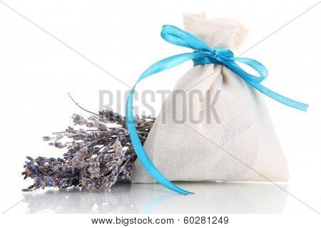 Textile sachet pouch with dried lavender flowers isolated on white poster