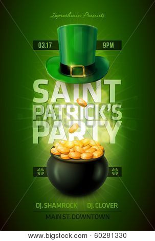 Vector St. Patrick's Day poster design template. Pot of Gold and Leprechaun green hat.  Elements are layered separately in vector file.
