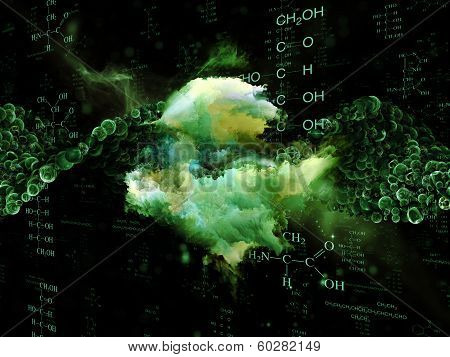 Molecular Dreams series. Visually attractive backdrop made of conceptual atoms molecules and fractal elements suitable as element for layouts on biology chemistry technology science and education poster