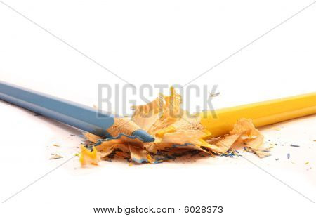 Colorful pencils and wood shavings