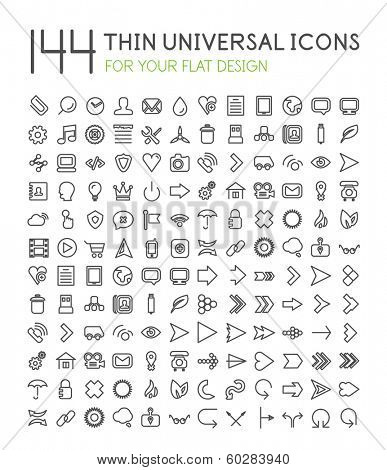 144 thin universal web icon set for your flat design isolated on white