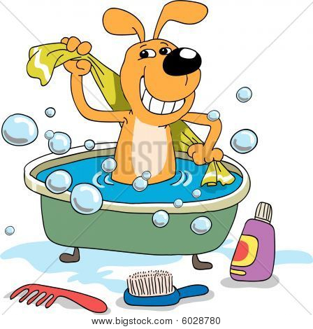 poster of The cheerful puppy bathes in a bath
