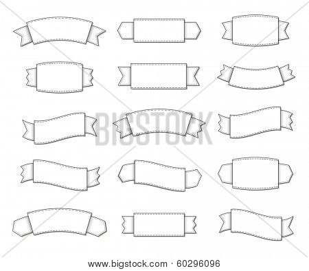 Collection of simple line art ribbon labels