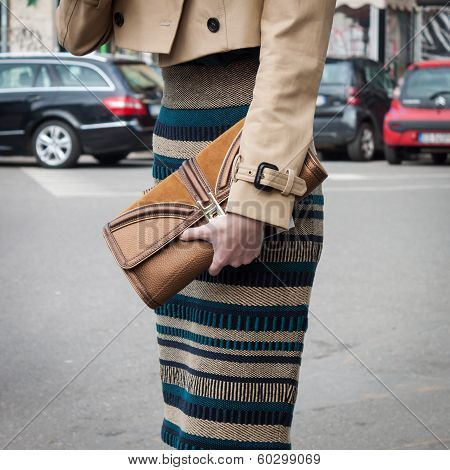 Detail Of A Woman's Outfit Outside Armani Fashion Shows Building For Milan Women's Fashion Week 2014