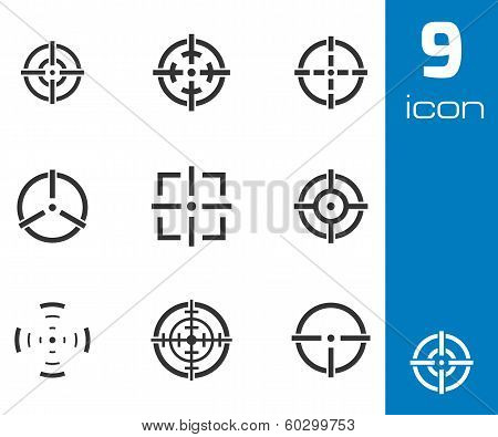 Vector black crosshair icons set