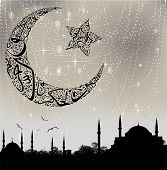 istanbul mosque silhouette and calligraphy moon and stars poster