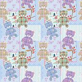 Patchwork for kids with colorful elements and bears background poster