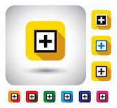 plus mark sign on button - flat design vector icon. This long shadows graphic symbol also represents help symbol math addition sign medical aid sign medicine doctor or hospital related sign poster