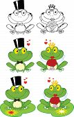 Happy Groom and Bride Frog Cartoon Mascot Characters. Set Collection poster