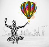 Funny man in full body suit holding colorful balloon, tourist attractions in background poster
