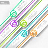Infographic template with five colorful striped labels. Eps10 poster