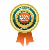 Satisfaction guarantee gold vector label. eps 10 poster