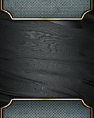 Design template - Black rich texture with grey edges and gold trim poster