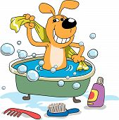 The cheerful puppy bathes in a bath poster