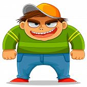 cartoon naughty kid ready to bully others poster