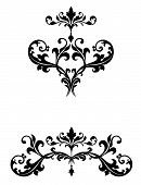 Delicate curvy leaf scroll scrollwork ornaments for wedding announcements or invitations or flourishes for logos or page ornamentation with a Victorian vintage flavor poster