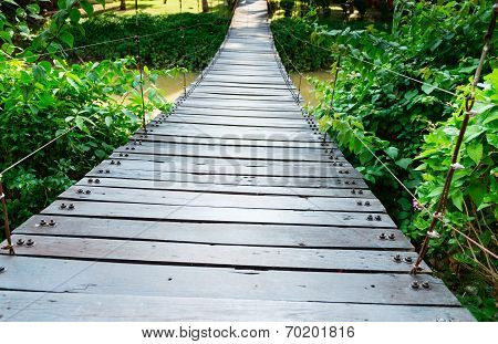 Wooden Long Rope Bridge