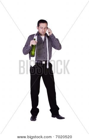 Businessman Celebrating With A Bottle Of Drink