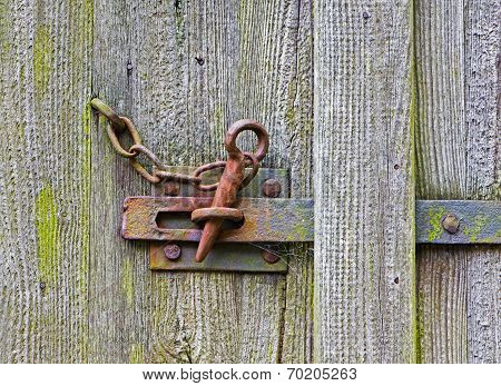 Iron Latch On The Wooden Door