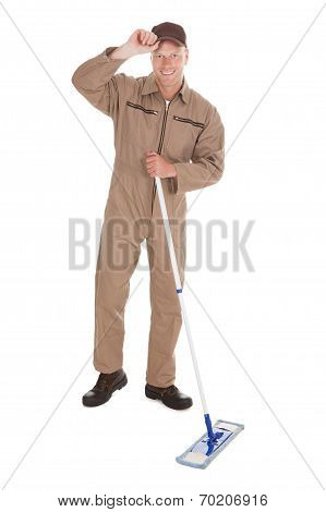 Confident Cleaner Mopping Over White Background