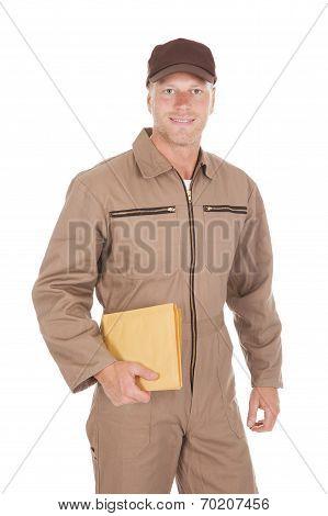Postman Holding Envelopes Over White Background