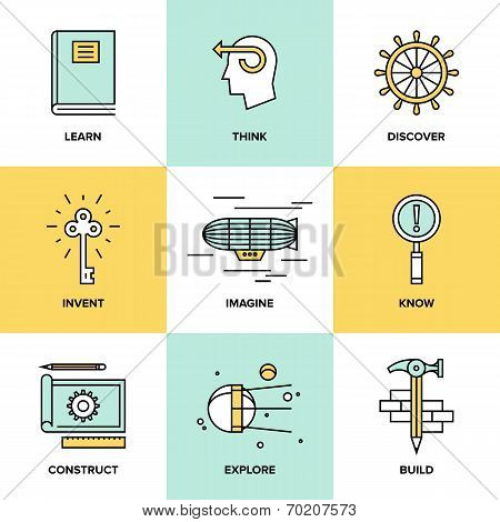 Creative Thinking And Invention Flat Icons