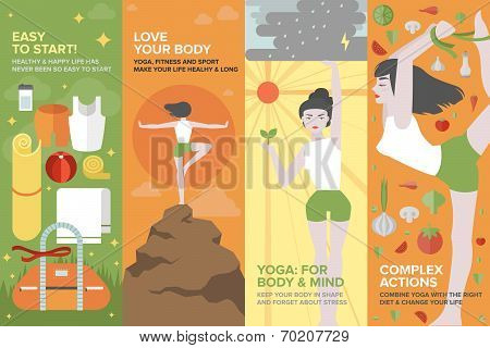 Yoga Life For Body And Mind Flat Banner Set