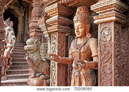 Details Of Sanctuary Of Truth Temple (also Called Wang Boran And Prasat Mai). Pattaya, Thailand