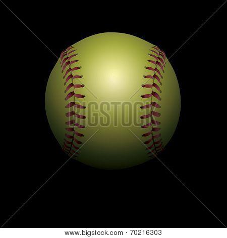 Softball On Black Shadowed Background Illustration