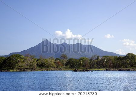Lake Nicaragua on a background an active volcano Concepcion