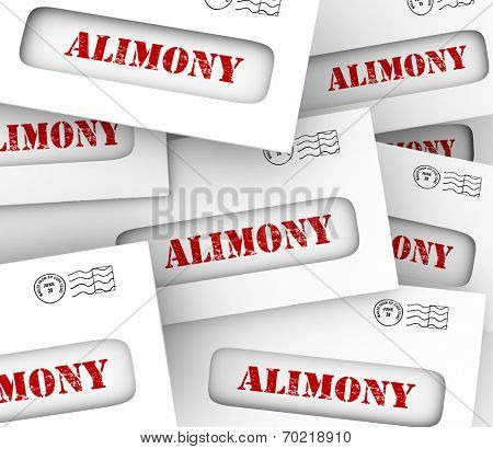 Alimony words on many envelopes as legally required or agreed upon financial obligation and spousal support to ex husband or wife